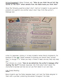 Determining Author's Message: Three Formal Lesson Plans Using Fables