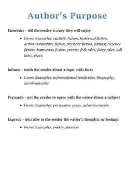 Determining the Author's Purpose Graphic Organizer