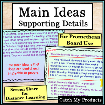 Main Idea and Supporting Details Passages PROMETHEAN Board