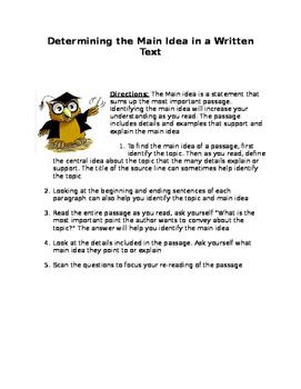 Determining the Main Idea in a Written Text