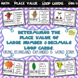 Determining the Place Value of Large Numbers & Decimals loop cards