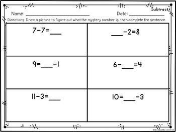 Determining the Unknown Whole Number: Add & Subtract 1.OA.D.8 Common Core Math