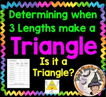 "Determining when 3 lengths make a Triangle Worksheet ""Is it a Triangle?"""