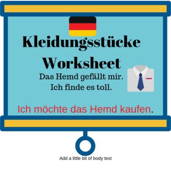 Deutsch Aktuell 1 / Kapitel 7 / Kleidungsstücke / Worksheet