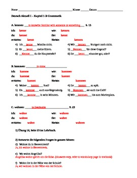 Deutsch Aktuell German Level 1 - Chapter 1 guided Grammar notes and practice