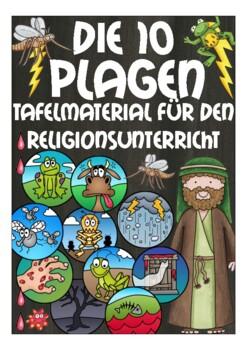 Deutsch / German Bildkarten 10 PLAGEN (Bibel / Moses) - flash cards Religion