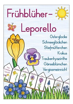 Deutsch / German Frühblüher Blumen Leporello - Primary School flowers