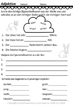 Deutsche Wortarten Adjektive 18 Arbeitsblatter