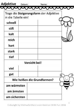 Deutsche Wortarten: Adjektive- 18 Arbeitsblätter by Learn German ...