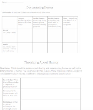 Develop Humor Theory with Students! (Pre-Writing Activity)
