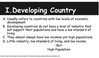 Developed and Developing Countries (World) PowerPoint Geography Notes