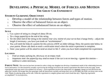 STEM/NGSS: Physics Lab-- Developing A Physical Model of Forces and Motion