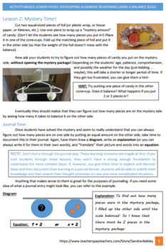 Developing Algebraic Reasoning Using Balance Scales for K - 8th grade