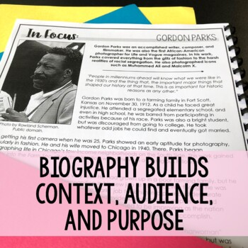 Developing Analysis with Audience, Purpose, Context - Photographer Biography