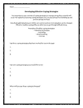 Developing Effective Coping Strategies worksheet