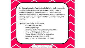 Developing Executive Functioning Skills- What Do You Do When Question Sets 1 & 2