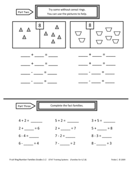"""Developing Fact Families With Manipulatives """"Fruity Fact Families"""""""