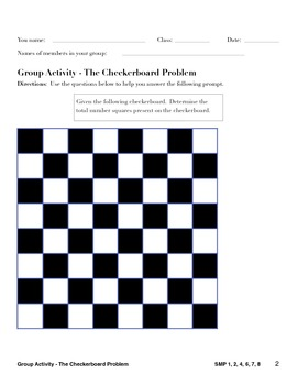 Common Core Math Practices - The Checkerboard Problem