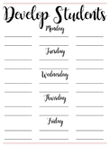 Developing Students Schedule