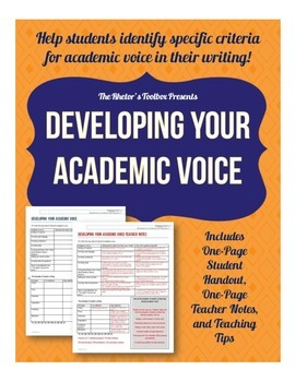 Developing Your Academic Voice: An Organizer for Student Reference