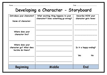 Developing a Character - Storyboard