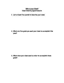 Developing a Class Identity Student Questionnaire