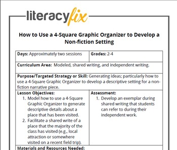 Developing a Non-Fiction Setting with a 4 Square Graphic Organizer PACK