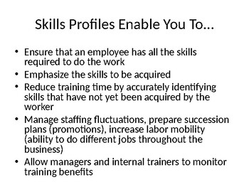 Developing a Skills Profile for Jobs Involving Children Notes