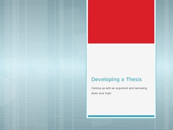 Developing a Thesis