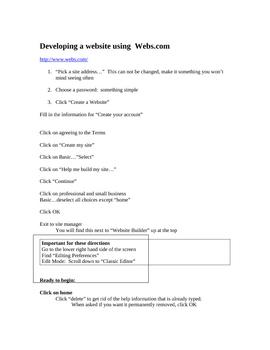 Developing a Website Using Webs.com