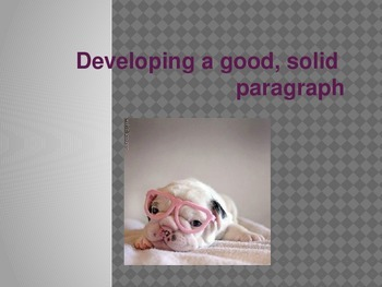Developing a good, solid paragraph.....and random puppies!