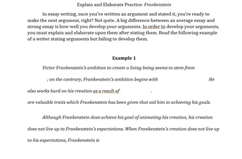 Developing and Explaining Arguments for Frankenstein Essays