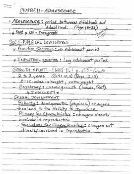 Development Lecture Notes (Adolescence)