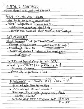 Development Lecture Notes (Adulthood)