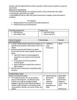 Development Study Guide ANSWER KEY