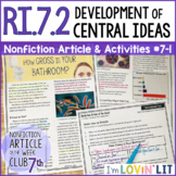 Development of Central Ideas RI.7.2   How Gross Is Your Bathroom? Article #7-1