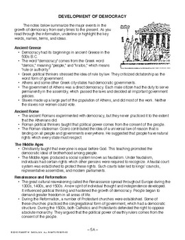 Development of Democracy, AMERICAN GOVERNMENT LESSON 5 of 105 Reading & JEOPARDY