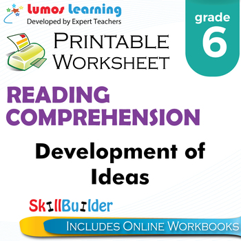 Development of Ideas Printable Worksheet, Grade 6