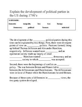 Development of Political Parties -- CLOZE Reading