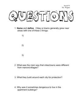 Development of Towns & Cities - Middle Ages - Handout & Worksheet