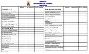Developmental & Academic Assessment for Preschool