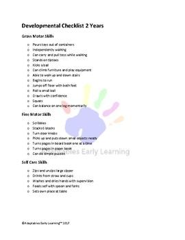 Developmental Checklist 2 Years Motor and Self Care Skills
