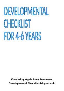 Developmental Checklist for 4-6 yrs