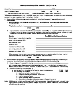 Developmental Cognitive Disability eligibility criteria form