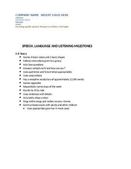 Developmental Milestones for Speech & Language