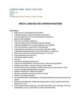 Speech Therapy-Developmental Milestones for Speech & Language