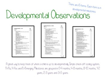 Developmental Observation (Age Milestones) Check Lists 0 to 5 years old.
