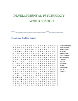Developmental Psychology Word Search