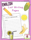 Spelling: List Writing Pages (English)