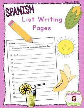 Spelling: List Writing Pages (Spanish)